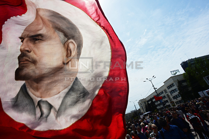 The Lenin flag is waived during the celebration of the Victory Day, the Soviet holiday commemorating the defeat of the Nazis.  Sunday is May 11, the proposed date for the separatists' referendum on greater autonomy for eastern Ukraine. Donetsk, Ukraine.