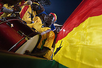 A Ghana fan beats a drum after Ghana scoring a goal during their first round match of against Serbia at Loftus Versfeld Stadium in Pretoria, South Africa on Saturday, June 12, 2010.  Ghana defeated Serbia on a penalty kick goal 1-0.