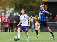 Stefania Vatafu (10 Anderlecht) pictured with Marie Minnaert (13 Brugge) during a female soccer game between Club Brugge Dames YLA and RSC Anderlecht Ladies on the fifth matchday of the 2020 - 2021 season of Belgian Scooore Womens Super League , sunday 18 October 2020  in Brugge , Belgium . PHOTO SPORTPIX.BE | SPP | DAVID CATRY