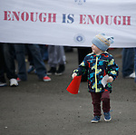 A young Rangers fans joins the protest against the board at Ibrox Stadium this afternoon