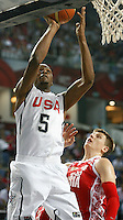 Kevin DURANT (USA)  passes Andrey VORONTSEVICH (Russia)  during the quarter-final World championship basketball match against Russia in Istanbul, USA-Russia, Turkey on Thursday, Sep. 09, 2010..