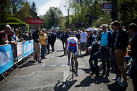 Anastasia Iakovenko (RUS) is the last rider up the infamous Mur de Huy (1300m/9.8%) in the first passage of the women's peloton<br /> <br /> Flèche Wallonne Féminine 2015