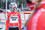 Race leader Lisa Brennauer (GER) CERATIZIT-WNT Pro Cycling Team at sign on before the start of Stage 3 of the CERATIZIT Challenge by La Vuelta 2020, running 98.6km around the streets of Madrid, Spain. 8th November 2020.<br /> Picture: Antonio Baixauli López/BaixauliStudio | Cyclefile<br /> <br /> All photos usage must carry mandatory copyright credit (© Cyclefile | Antonio Baixauli López/BaixauliStudio)