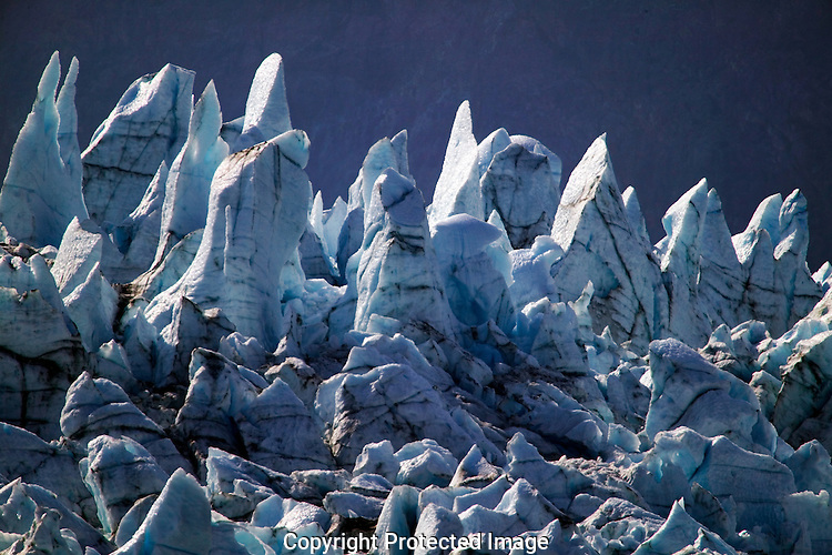Jagged ice from the top of the glacier at Glacier Bay National Park, Alaska.