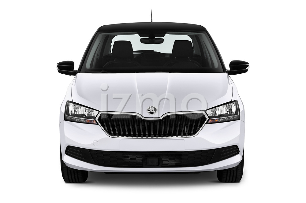 Car photography straight front view of a 2018 Skoda Fabia Ambition 5 Door Hatchback Front View
