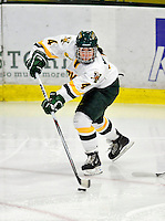 30 October 2009: University of Vermont Catamount defenseman Saleah Morrison, a Junior from Selkirk, Manitoba, in action against the Northeastern University Huskies at Gutterson Fieldhouse in Burlington, Vermont. The Catamounts were shut out by the visiting Huskies 3-0. Mandatory Credit: Ed Wolfstein Photo