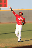 Dario Saunders (46) of the AZL Reds throws before a game against the AZL Brewers at Cincinnati Reds Spring Training Complex on July 5, 2015 in Goodyear, Arizona. Reds defeated the Brewers, 9-4. (Larry Goren/Four Seam Images)
