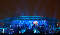 April 22nd 2018, ST PETERSBURG, RUSSIA: A light show by Saint Petersburg Stadium on Krestovsky Island. Picture shows the stadum which will host World Cup 2018 football final games