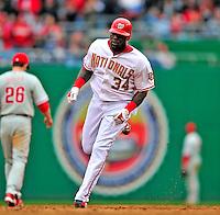 13 April 2009: Washington Nationals' outfielder Elijah Dukes rounds the bases after hitting a home run against the Philadelphia Phillies during the Nats' Home Opener at Nationals Park in Washington, DC. The Nats fell short in their 9th inning rally, losing 9-8, and marking their 7th consecutive loss of the 2009 season. Mandatory Credit: Ed Wolfstein Photo