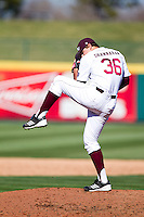 Erik Shannahan (36) of the Missouri State Bears winds up during a game against the Southern Illinois University- Edwardsville Cougars at  Hammons Field on March 10, 2012 in Springfield, Missouri. (David Welker / Four Seam Images)