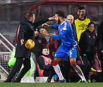29.02.2020 Hearts v Rangers: Connor Goldson grabs the ball from Daniel Stendel