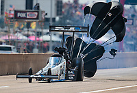 Oct 20, 2019; Ennis, TX, USA; NHRA top fuel driver Jordan Vandergriff during the Fall Nationals at the Texas Motorplex. Mandatory Credit: Mark J. Rebilas-USA TODAY Sports