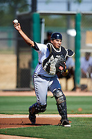 Chicago White Sox minor league catcher Jose Barraza #23 during an instructional league game against the Los Angeles Dodgers at the Camelback Training Complex on October 9, 2012 in Glendale, Arizona.  (Mike Janes/Four Seam Images)