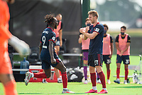LAKE BUENA VISTA, FL - JULY 14: C.J. Sapong #9 and Robert Beric #27 of the Chicago Fire celebrate a goal during a game between Seattle Sounders FC and Chicago Fire at Wide World of Sports on July 14, 2020 in Lake Buena Vista, Florida.