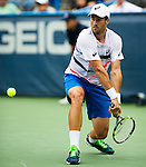Steve Johnson (USA) fell to Milos Raonic (CAN) 76(2) 62 at the Citi Open in Washington, DC on August 1, 2014.