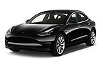 2019 Tesla Model-3 Performance 4 Door Sedan angular front stock photos of front three quarter view