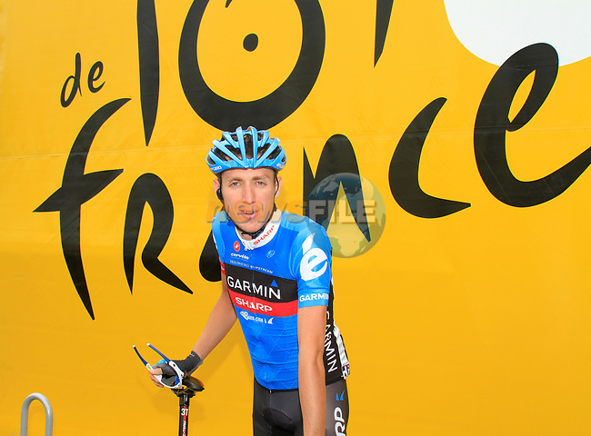 Daniel Martin (IRL) Garmin-Sharp at sign on before the start of Stage 2 of the 99th edition of the Tour de France 2012, running 207.5km from Vise to Tournai, Belgium. 2nd July 2012.<br /> (Photo by Eoin Clarke/NEWSFILE)