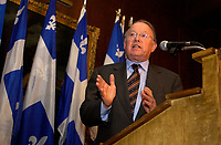 File - april  . 2002, Montreal, Quebec, Canada; <br /> <br /> Bernard Landry, Quebec Premier and Leader of the Parti Quebecois seen in an April 2002 File Photo, <br /> came last in a recent poll, behind Jean Charest, Liberal Party leader, and Mario Dumont, Action Democratique leader.<br /> <br /> Landry acknowledge that his party sovereinist option may not get a majority of votes in the next Quebec elections that  must be held in November 2003 at the latest.