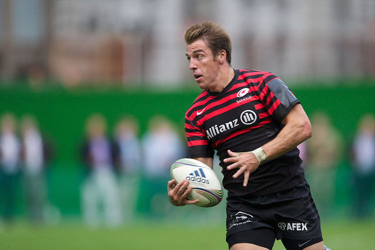 20120823 Copyright onEdition 2012©.Free for editorial use image, please credit: onEdition..Chris Wyles of Saracens in action at The Honourable Artillery Company, London in the pre-season friendly between Saracens and Stade Francais Paris...For press contacts contact: Sam Feasey at brandRapport on M: +44 (0)7717 757114 E: SFeasey@brand-rapport.com..If you require a higher resolution image or you have any other onEdition photographic enquiries, please contact onEdition on 0845 900 2 900 or email info@onEdition.com.This image is copyright the onEdition 2012©..This image has been supplied by onEdition and must be credited onEdition. The author is asserting his full Moral rights in relation to the publication of this image. Rights for onward transmission of any image or file is not granted or implied. Changing or deleting Copyright information is illegal as specified in the Copyright, Design and Patents Act 1988. If you are in any way unsure of your right to publish this image please contact onEdition on 0845 900 2 900 or email info@onEdition.com
