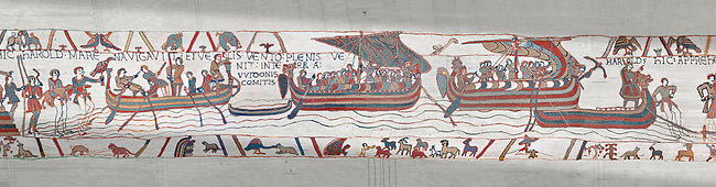 Bayeux Tapestry scene 5 : Strong winds blow Harold ships off course to the lands of Guy de Ponthieu.