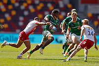 24th April 2021; Brentford Community Stadium, London, England; Gallagher Premiership Rugby, London Irish versus Harlequins; Albert Tuisue of London Irish is tackled by Joe Marchant of Harlequins