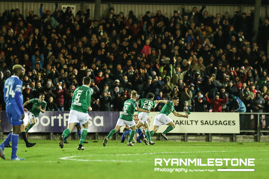 Gearoid Morrissey of Cork celebrates after scoring the opening goal of the SSE Airtricity League Premier <br /> Division game between Cork City and Waterford FC on Friday 23rd February 2018 at Turners Cross. Photo By: Michael P Ryan