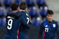WIENER NEUSTADT, AUSTRIA - : Giovanni Reyna #7 of the United States celebrates a Nicholas Gioacchini #9 goal during a game between  at Stadion Wiener Neustadt on ,  in Wiener Neustadt, Austria.