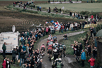 thinned out peloton<br /> <br /> 118th Paris-Roubaix 2021 (1.UWT)<br /> One day race from Compiègne to Roubaix (FRA) (257.7km)<br /> <br /> ©kramon