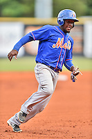 Kingsport Mets second baseman Santo Marte (1) runs to third during a game against the Greeneville Astros at Pioneer Park on July 3, 2016 in Greeneville, Tennessee. The Mets defeated the Astros 11-0. (Tony Farlow/Four Seam Images)