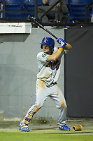 Jarred Kelenic (20) of the Kingsport Mets waits for his turn to bat during the game against the Burlington Royals at Burlington Athletic Stadium on July 27, 2018 in Burlington, North Carolina. The Mets defeated the Royals 8-0.  (Brian Westerholt/Four Seam Images)