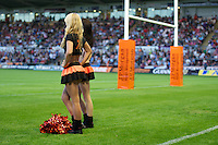 20130802 Copyright onEdition 2013 ©<br />Free for editorial use image, please credit: onEdition.<br /><br />JP Morgan promo girls look on during the J.P. Morgan Asset Management Premiership Rugby 7s Series.<br /><br />The J.P. Morgan Asset Management Premiership Rugby 7s Series kicks off for the fourth season on Thursday 1st August with Pool A at Kingsholm, Gloucester with Pool B being played at Franklin's Gardens, Northampton on Friday 2nd August, Pool C at Allianz Park, Saracens home ground, on Saturday 3rd August and the Final being played at The Recreation Ground, Bath on Friday 9th August. The innovative tournament, which involves all 12 Premiership Rugby clubs, offers a fantastic platform for some of the country's finest young athletes to be exposed to the excitement, pressures and skills required to compete at an elite level.<br /><br />The 12 Premiership Rugby clubs are divided into three groups for the tournament, with the winner and runner up of each regional event going through to the Final. There are six games each evening, with each match consisting of two 7 minute halves with a 2 minute break at half time.<br /><br />For additional images please go to: http://www.w-w-i.com/jp_morgan_premiership_sevens/<br /><br />For press contacts contact: Beth Begg at brandRapport on D: +44 (0)20 7932 5813 M: +44 (0)7900 88231 E: BBegg@brand-rapport.com<br /><br />If you require a higher resolution image or you have any other onEdition photographic enquiries, please contact onEdition on 0845 900 2 900 or email info@onEdition.com<br />This image is copyright the onEdition 2013©.<br /><br />This image has been supplied by onEdition and must be credited onEdition. The author is asserting his full Moral rights in relation to the publication of this image. Rights for onward transmission of any image or file is not granted or implied. Changing or deleting Copyright information is illegal as specified in the Copyright, Design and Patents Act 1988. If you are in any way unsu