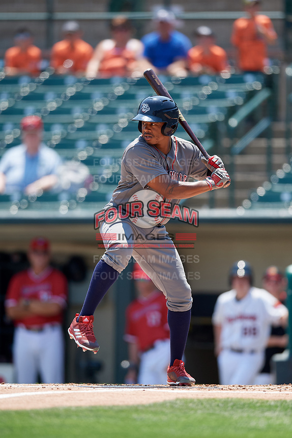 Lehigh Valley IronPigs center fielder Adron Chambers (15) at bat during a game against the Rochester Red Wings on July 1, 2018 at Frontier Field in Rochester, New York.  Rochester defeated Lehigh Valley 7-6.  (Mike Janes/Four Seam Images)