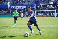 SAN JOSE, CA - AUGUST 8: Shea Salinas #6 of the San Jose Earthquakes during a game between Los Angeles FC and San Jose Earthquakes at PayPal Park on August 8, 2021 in San Jose, California.