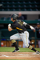 Bradenton Marauders first baseman Albert Baur (23) follows through on a swing during the second game of a doubleheader against the Lakeland Flying Tigers on April 11, 2018 at Publix Field at Joker Marchant Stadium in Lakeland, Florida.  Bradenton defeated Lakeland 1-0.  (Mike Janes/Four Seam Images)