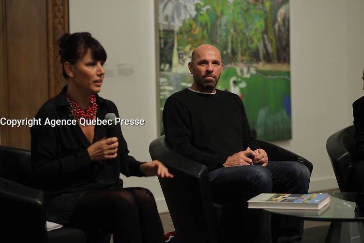 January 21, 2014 - Nathalie Bondil (L) and Scottish painter Peter Doig attend the news conference for<br /> NO FOREIGN LAND - NULLE TERRE ETRANGERE,  his first North-American major Retrospective, held at Montreal Museum of Fine Arts, january 25 to May4, 2014.