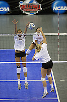 Omaha, NE - DECEMBER 20:  Outside hitter Alix Klineman #10 of the Stanford Cardinal during Stanford's 2008 NCAA Division I Women's Volleyball Final Four Championship closed practice before playing the Penn State Nittany Lions on December 20, 2008 at the Qwest Center in Omaha, Nebraska.