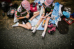 Young fans waiting for the race to pass during Stage 8 of the 2019 Tour de France running 200km from Macon to Saint-Etienne, France. 13th July 2019.<br /> Picture: ASO/Pauline Ballet   Cyclefile<br /> All photos usage must carry mandatory copyright credit (© Cyclefile   ASO/Pauline Ballet)