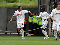 Pictured: Scott Sinclair of Swansea (L) celebrating his goal from  the penalty spot with Nathan Dyer (R). Saturday 07 May 2011<br /> Re: Swansea City FC v Sheffield United, npower Championship at the Liberty Stadium, Swansea, south Wales.