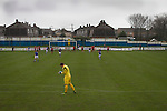 Port Talbot Town 3 Caerau Ely 0, 06/02/2016. Genquip Stadium, Welsh Cup fourth round. Port Talbot Town (in blue) score an early penally against Caerau Ely in a Welsh Cup fourth round tie at the Genquip Stadium, formerly known as Victoria Road. Formed by exiled Scots in 1901 as Port Talbot Athletic, they competed in local and regional football before being promoted to the League of Wales  in 2000 and changing their name to the current version a year later. Town won this tie 3-0 against their opponents from the Welsh League, one level below the welsh Premier League where Port Talbot competed, watched by a crowd of 113. Photo by Colin McPherson.