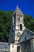 The 13th Century Abbey on the Dordogne River in Brantome, France. ancient architecture, religions, Christianity, tower. BRANTOME FRANCE.
