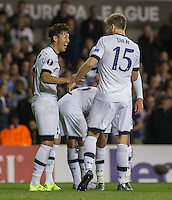 Son Heung-Min of Tottenham Hotspur celebrates scoring his second goal with Eric Dier of Tottenham Hotspur during the UEFA Europa League match between Tottenham Hotspur and Qarabag FK at White Hart Lane, London, England on 17 September 2015. Photo by Andy Rowland.
