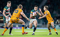 21st May 2021; Twickenham, London, England; European Rugby Challenge Cup Final, Leicester Tigers versus Montpellier; Hanro Liebenberg of Leicester Tigers is tackled by Jacques Du Plessis of Montpellier Rugby