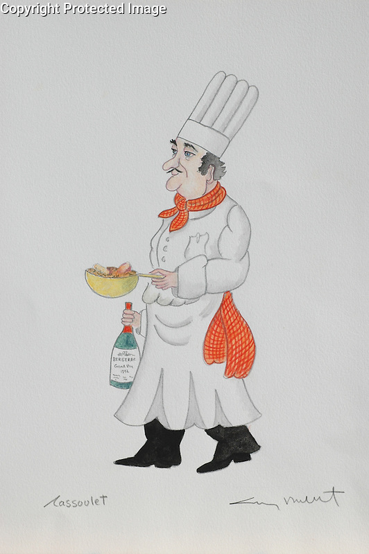 """""""Cassoulet""""<br /> 11x14 ORIGINAL Watercolor on Paper<br /> $1,750<br /> <br /> This special chef made it onto the label of Guy's Gourmet """"Grilling Spice""""! Check him out from the homepage!"""