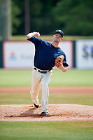 Mobile BayBears starting pitcher Parker Bridwell (16) delivers a pitch during a game against the Pensacola Blue Wahoos on April 26, 2017 at Hank Aaron Stadium in Mobile, Alabama.  Pensacola defeated Mobile 5-3.  (Mike Janes/Four Seam Images)