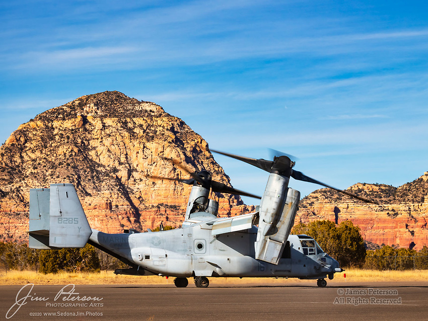 Heading Out!  After about ½ hour of prep time, this V-22 Osprey was finally warmed up and ready for takeoff, and it taxied to the runway in true Sedona style: with Thunder Mountain, also known as Capitol Dome, as a backdrop.  Almost everything, including airplanes, looks better in Sedona! <br /> <br /> Image ©2021 James D. Peterson