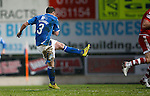 St Johnstone v Aberdeen...06.02.16   SPFL   McDiarmid Park, Perth<br /> Tam Scobbie scores his goal that made it 4-3<br /> Picture by Graeme Hart.<br /> Copyright Perthshire Picture Agency<br /> Tel: 01738 623350  Mobile: 07990 594431