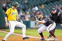 Texas A&M Aggies first baseman Logan Nottebrok (8) prepares to catch a pickoff throw to first base during the Houston College Classic against the Baylor Bears on March 8, 2015 at Minute Maid Park in Houston, Texas. Texas A&M defeated Baylor 3-2. (Andrew Woolley/Four Seam Images)