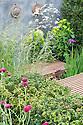 Nature Ascending garden, designed by Angus Thompson and Jane Brockbank, gold medal winner, RHS Chelsea Flower Show 2009. Plants include: Siberian iris (Iris sibirica 'Linda Mary'), Cirsium rivulare 'Atropurpureum', Yew (Taxus baccata), Tufted hair grass (Deschampsia cespitosa).