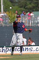 Third baseman Jon Hee of the Salem Red Sox throwing to first base against  the Myrtle Beach Pelicans on May 3, 2009