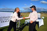 Hana-Rae Seifert and Vivian Lu. Day four of the Renaissance Brewing NZ Stroke Play Championship at Paraparaumu Beach Golf Club in Paraparaumu, New Zealand on Sunday, 21 March 2021. Photo: Dave Lintott / lintottphoto.co.nz